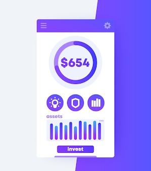 Progettazione dell'interfaccia utente mobile dell'app di finanza, vettore