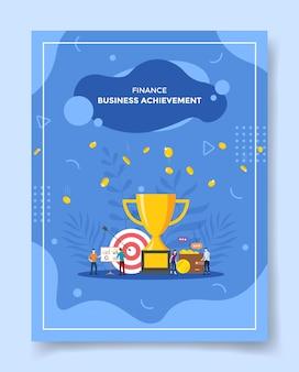 Finanza persone di successo aziendale intorno al portafoglio di destinazione del trofeo