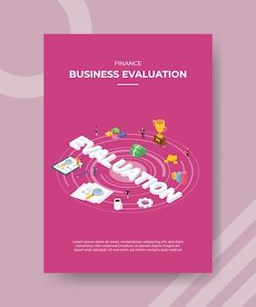 Modello di volantino di valutazione aziendale di finanza Vettore Premium