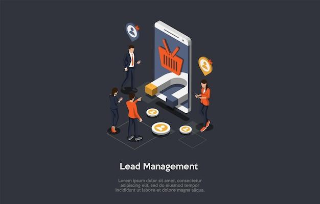 Finanza, affari, lead management concept. personaggi maschili e femminili circondano l'enorme smartphone con immagini di busket e magnete sullo schermo utilizzando i loro dispositivi. 3d isometrico illustrazione vettoriale.