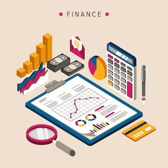 Concetto di finanza in 3d design piatto isometrico