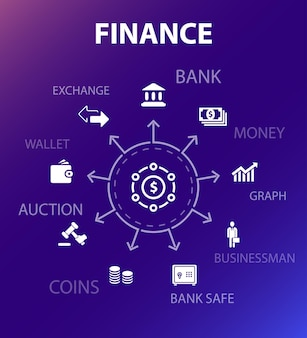 Modello di concetto di finanza. stile di design moderno. contiene icone come banca, denaro, grafico, cambio