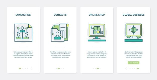 Set di schermate della pagina dell'app per dispositivi mobili di onboarding dell'interfaccia utente della tecnologia di consulenza finanziaria