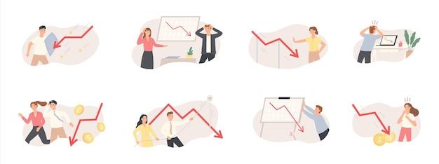 Insieme dell'illustrazione del grafico di crisi e diminuzione della finanza