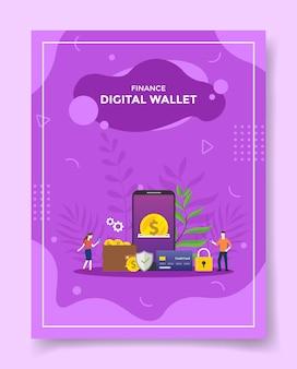 Finanza portafoglio digitale persone intorno smartphone moneta denaro dollaro ingranaggio portafoglio protezione scudo