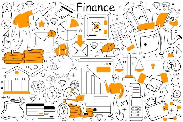 Insieme di doodle di finanza