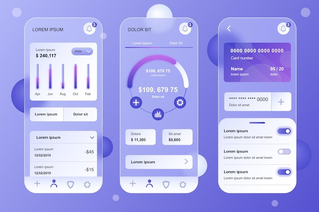 Finanziare il kit di elementi neumorfici di design glassmorphic per le schermate gui ux dell'interfaccia utente dell'app mobile impostate