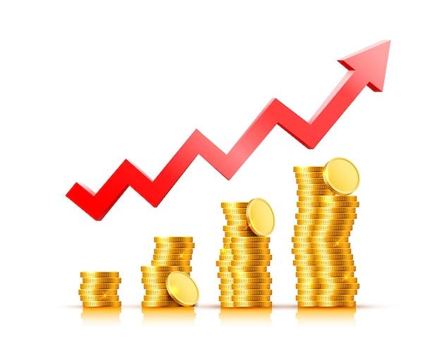 Freccia del grafico di crescita delle finanze con monete d'oro su uno sfondo trasparente. illustrazione vettoriale