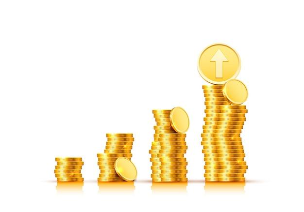 Freccia del grafico di crescita delle finanze con monete d'oro su sfondo bianco. illustrazione vettoriale