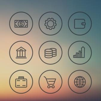 Icone finanziarie, commissioni, ricompense, entrate, investimenti, risparmi, banche, set di linee spesse