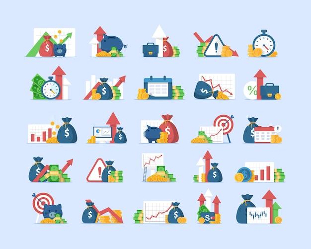 Le icone di finanze hanno impostato, aumento delle entrate, interesse composto, valore aggiunto, illustrazione piana dell'icona di progettazione