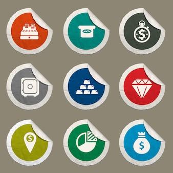 Icone finanziarie impostate per siti web e interfaccia utente
