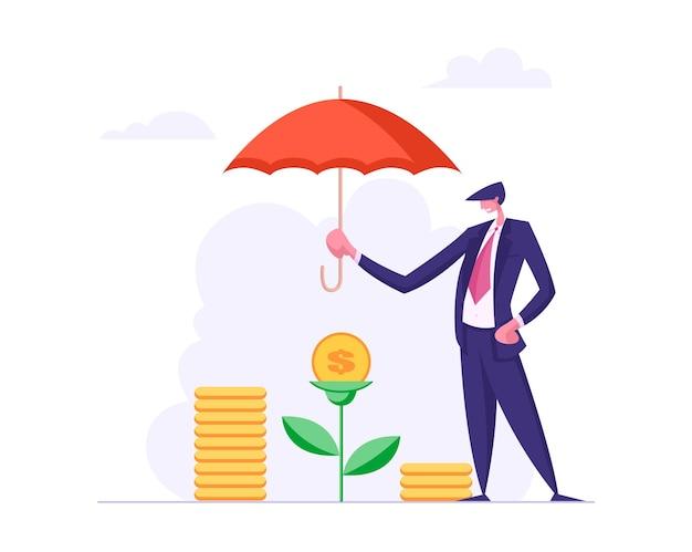Concetto di assicurazione di finanze con l'illustrazione dell'ombrello della tenuta dell'uomo d'affari