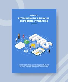 Finanza norme internazionali di rendicontazione finanziaria persone in piedi intorno al testo ifrs bordo grafico denaro
