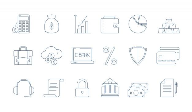 Insieme dell'icona di elemento lineare di finanza