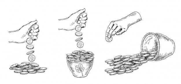 Finanza, molti soldi. mucchio delle monete, soldi in una raccolta disegnata a mano di schizzo del vaso, su fondo bianco. illustrazione in bianco e nero