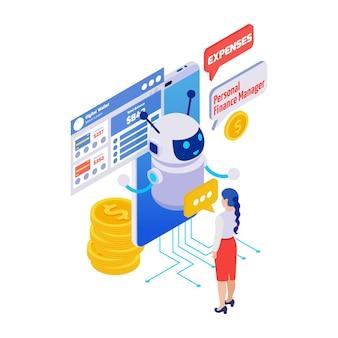 Icona isometrica dell'applicazione chatbot del portafoglio digitale del gestore finanziario 3d