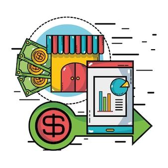 Marketing finanziario con successo della strategia aziendale
