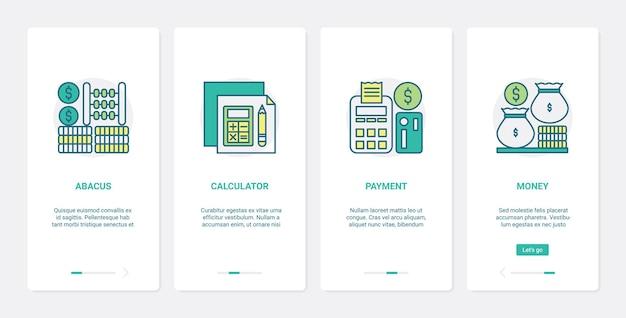 Metodi finanziari per il conteggio del pagamento in denaro ux ui onboarding set di schermate della pagina dell'app mobile