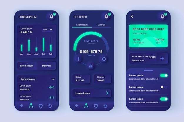 Servizi finanziari moderna app mobile ui design neumorfico