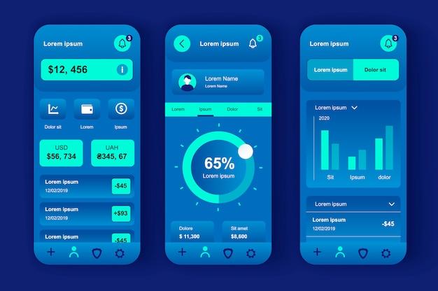Kit neomorfo unico per servizi finanziari per app mobile. saldo della carta di credito, conto corrente, conferma della transazione. interfaccia utente di banking online, set di modelli ux. gui per un'applicazione mobile reattiva