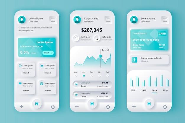 Kit di progettazione neumorfa unico per servizi finanziari per app mobile.