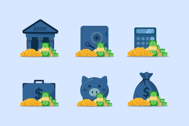 Set di finanze, cassetta di sicurezza con banconote da monete in dollari di risparmio di denaro