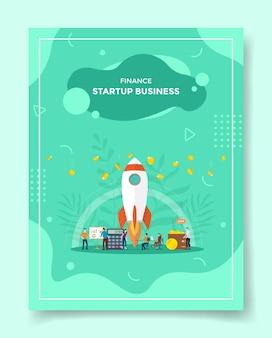 Finanza startup concetto aziendale persone intorno a razzo volare decollo grafico bordo calcolatrice portafoglio caduta moneta per modello