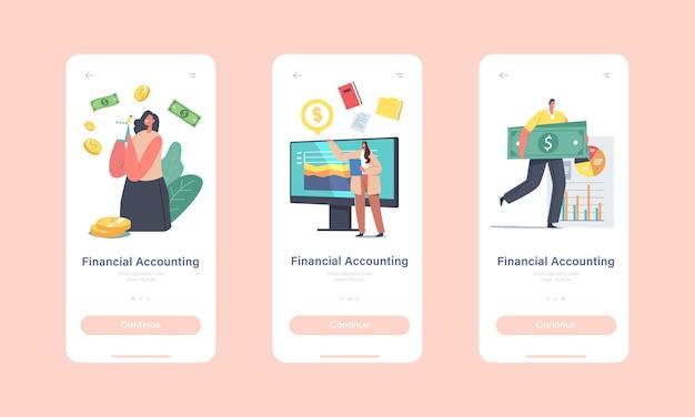 Modello di schermata integrato della pagina dell'app mobile di contabilità finanziaria. prestazioni dei personaggi, analisi, statistiche e dichiarazione aziendale