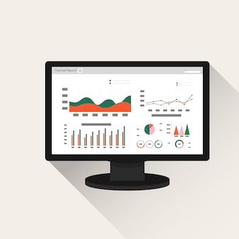Concetto di rapporto di contabilità finanziaria sullo schermo del computer.