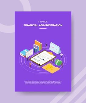Modello del manifesto di concetto di amministrazione finanziaria con illustrazione di vettore di stile isometrico
