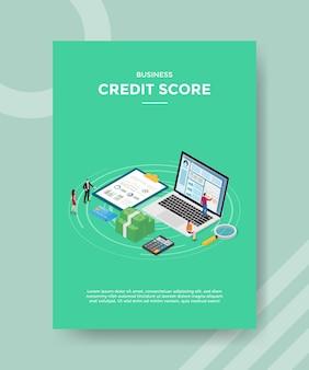 Modello di volantino del punteggio di credito aziendale di consulenza finanziaria Vettore Premium