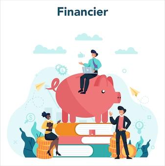 Illustrazione di concetto di consulente finanziario o finanziere