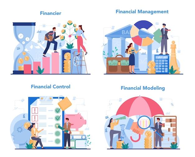 Set di concetto di consulente finanziario o finanziere