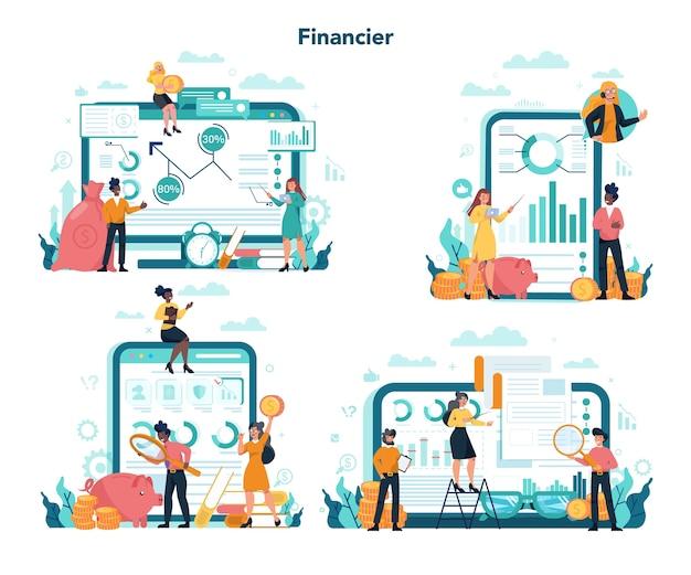 Consulente finanziario o finanziere servizio online o set di piattaforme