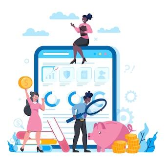 Consulente finanziario o piattaforma finanziaria su diversi concetti di dispositivo