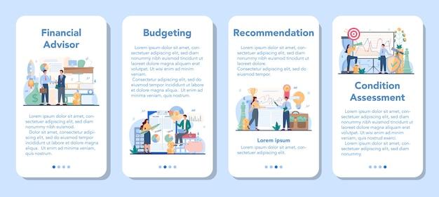 Set di banner per applicazioni mobili di consulente finanziario.