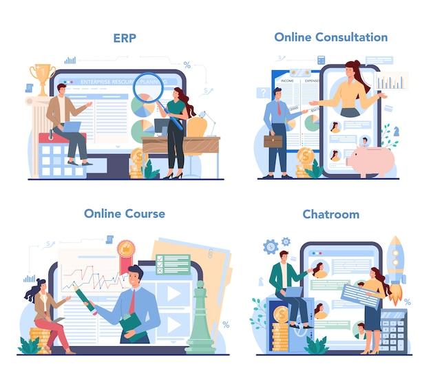 Servizio online di consulente finanziario o set di piattaforme.