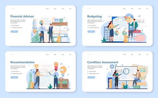 Banner web consulente finanziario o set di pagine di destinazione