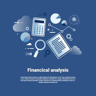 Insegna di web del modello di analisi finanziaria con lo spazio della copia