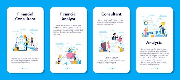 Set di banner di applicazioni mobili per analista o consulente finanziario.