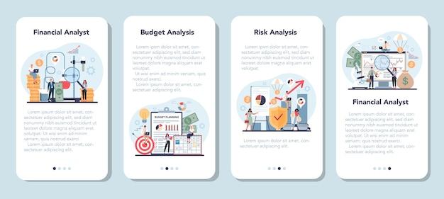 Set di banner di applicazioni mobili per analista o consulente finanziario