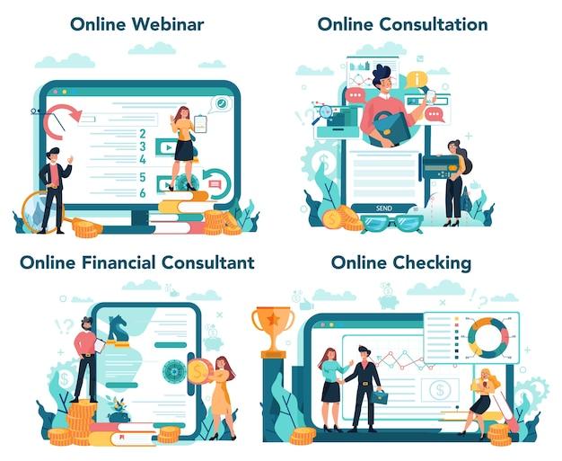 Analista finanziario o consulente servizio online o set di piattaforme