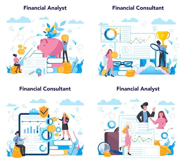 Analista finanziario o set di consulenti. carattere aziendale che fa finanziario