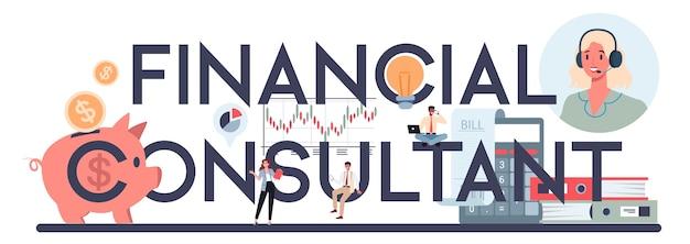 Analista finanziario o intestazione tipografica del consulente