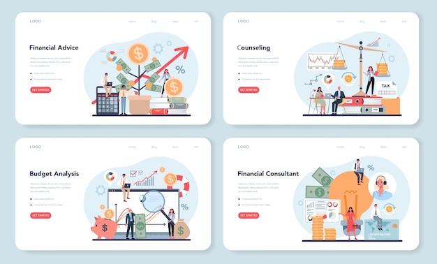 Banner web per analista o consulente finanziario o set di pagine di destinazione