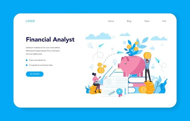 Banner web o pagina di destinazione per analista finanziario o consulente