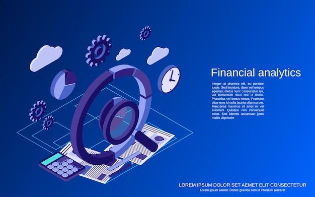 Analisi finanziaria, illustrazione di concetto di vettore isometrico piatto di statistiche aziendali