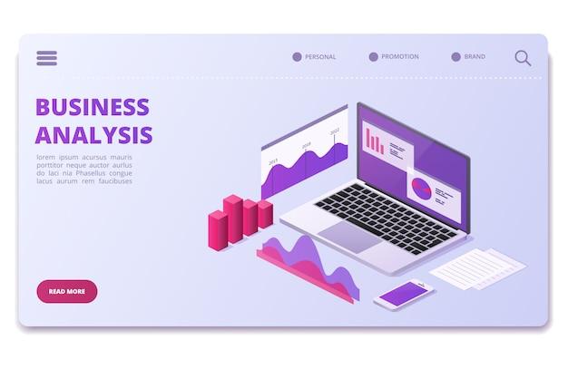 Modello di pagina di analisi finanziaria. grafici statistici aziendali, diagrammi