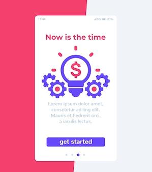 App finanziaria, interfaccia utente mobile,